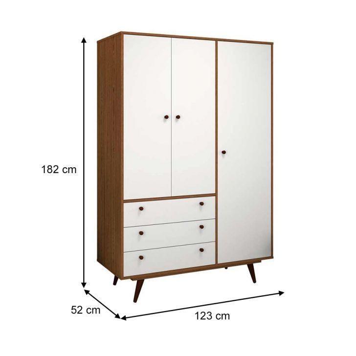 Tủ gỗ chứa quần áo thông dụng được thiết kế với 3 cánh và 3 ngăn
