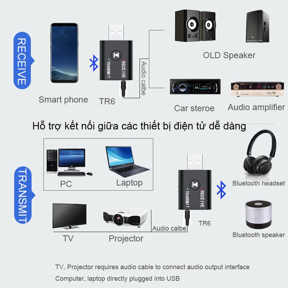 Thiết bị thu phát bluetooth 5.0 không dây hai chiều USB laptop PC ô tô phát nhạc D878 ( hàng nhập khẩu )