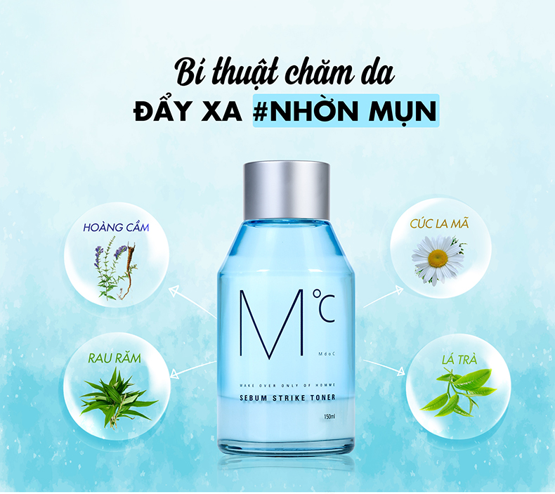 Nước hoa hồng MdoC Sebum Strike Toner Toner dành cho nam kiềm dầu 150ml JN-MTN02
