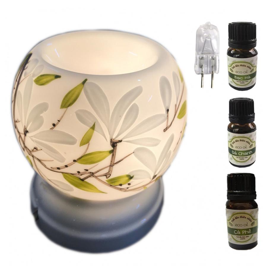 Combo 3 chai tinh dầu (sả chanh, bạc hà, cà phê) Eco 10ml và đèn xông tinh dầu điện cao cấp MNB39 và 1 bóng đèn