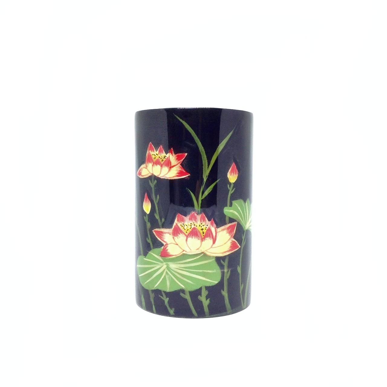 Cắm Bút Gỗ Sơn Mài Vẽ Hoa