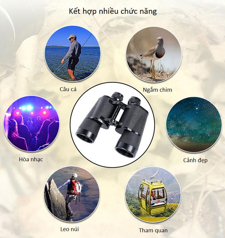 Ống nhòm du lịch hai mắt ( độ phóng đại lên đến 15 lần, đường kính vật kính là 50mm, hệ lăng kính BAK4 ) - Tặng kèm bộ 100 miếng dán hình ngôi sao