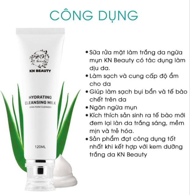 Bộ 3 sản phẩm Trắng Da Ngừa mụn KN Beauty chuyên sâu:Kem dưỡng 25g + Serum 30ml+ Sữa rửa mặt 120ml - Tặng 2 Mặt nạ