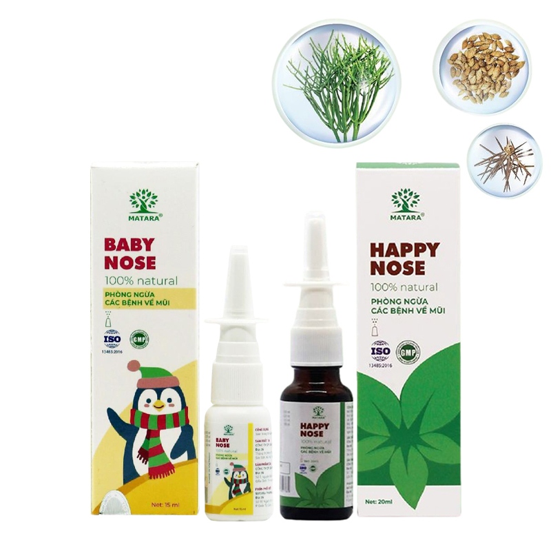 Xịt mũi Matara Happy Nose và Baby Nose cho cả gia đình. Bảo vệ sức khỏe cho cả gia đình, dứt điểm ngạt mũi, sụt sịt, viêm xoang cấp và mãn tính, viêm mũi dị ứng