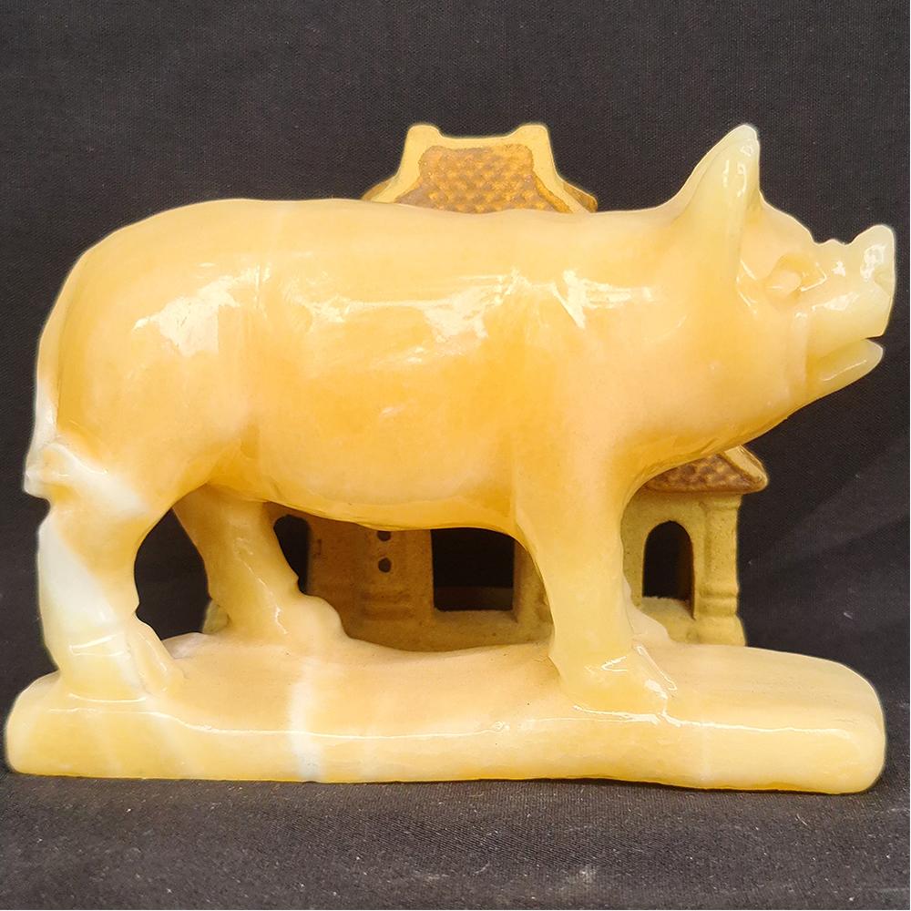 Tượng Phong Thuỷ Tuổi Hợi - Lợn - Heo 12 Con Giáp Đá Ngọc Hoàng Long - 8cm - Mx - Hợp Mệnh Thổ, Kim