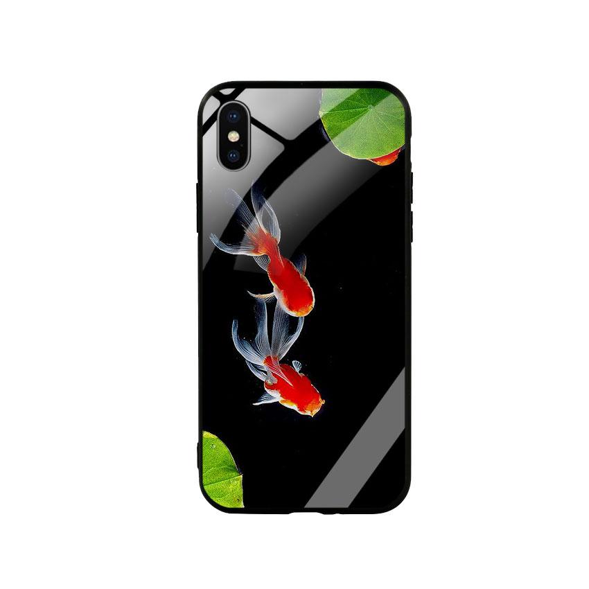 Ốp Lưng Kính Cường Lực cho điện thoại Iphone X  Xs -  Cá Koi 03