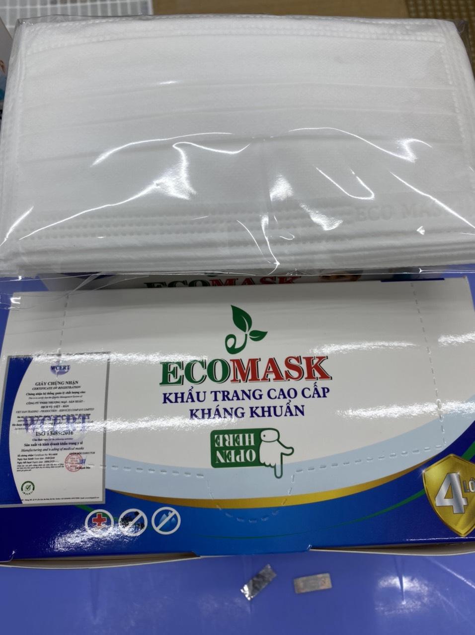 Khẩu Trang Y Tế Cao Cấp Kháng Khuẩn 4 Lớp Ecomask (Hộp 50 cái) Tặng kèm 1 mặt nạ Jant Blanc