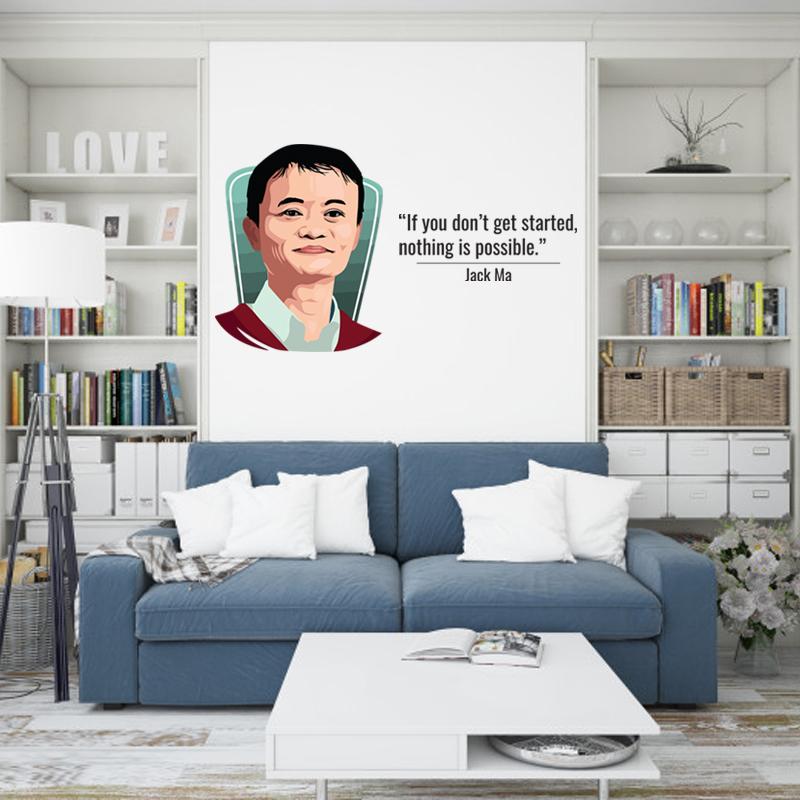 Hình Dán Tường Chủ Đề  Câu Nói Nổi Tiếng Của Jack Ma    Tranh Dán Tường Cho Phòng Khách, Phòng Ngủ Có Keo Sẵn Bóc Dán