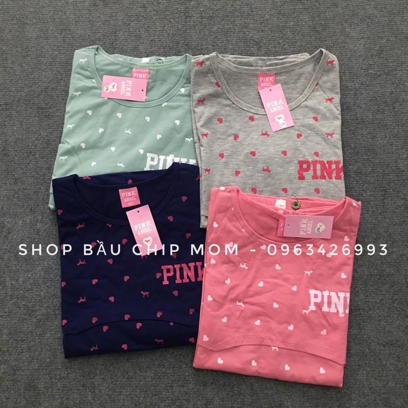 Bộ Bầu Pink 2in1 (ảnh thật)- mặc bầu & sau sinh - chất cotton mềm mát đẹp