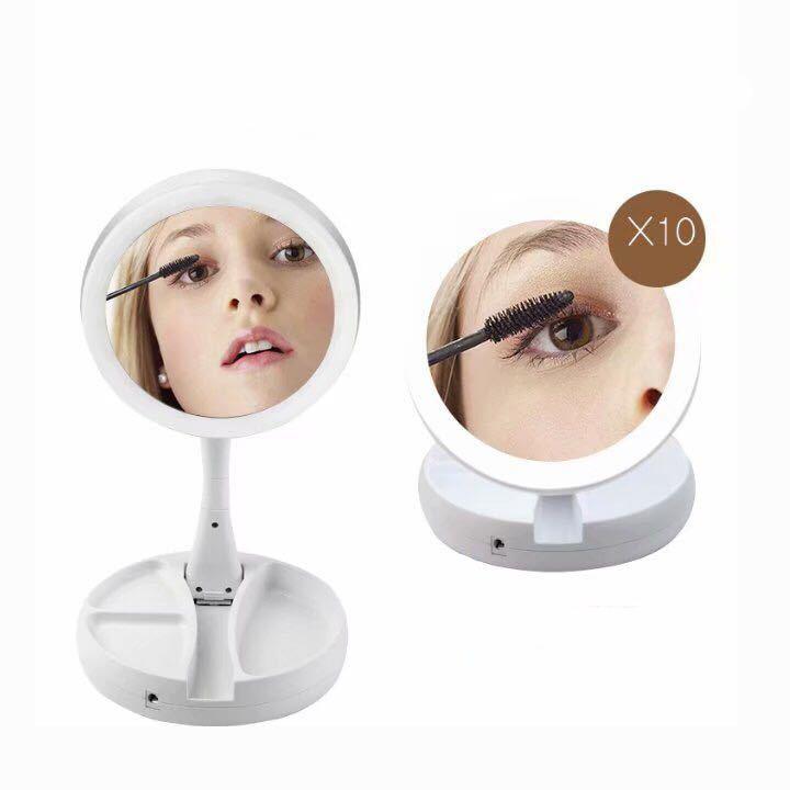 Gương trang điểm mini led gấp gọn 2 chế độ gương 1x 10x RE0095