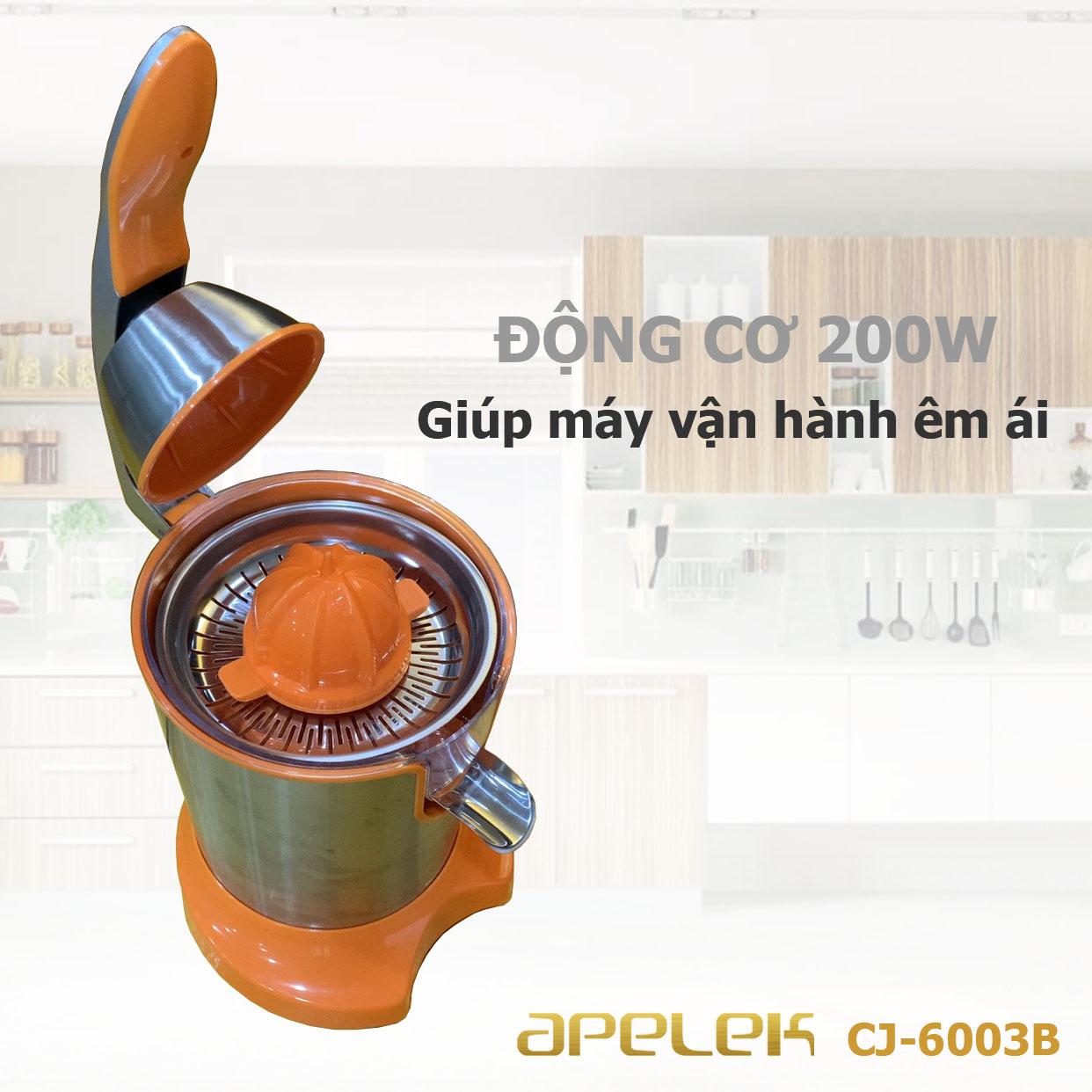 Máy vắt cam APELEK CJ-6003B - Hàng chính hãng - Đầu rót trực tiếp tiện lợi - Công suất 200W mạnh mẽ - Lưới lọc bằng Inox 304 dễ dàng vệ sinh - Tay ép an toàn-  Hai đầu vắt lớn và nhỏ