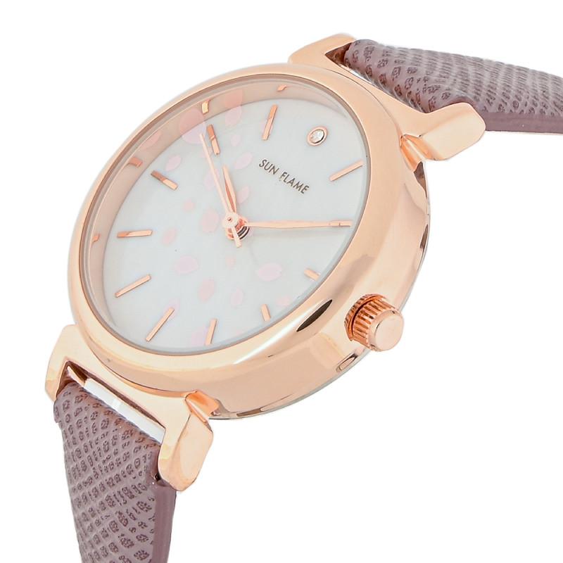 Đồng hồ thời trang Nữ chính hãng Nhật Bản SUNFLAME MJOE9084, dây da, mặt hoa anh đào - Galle Watch