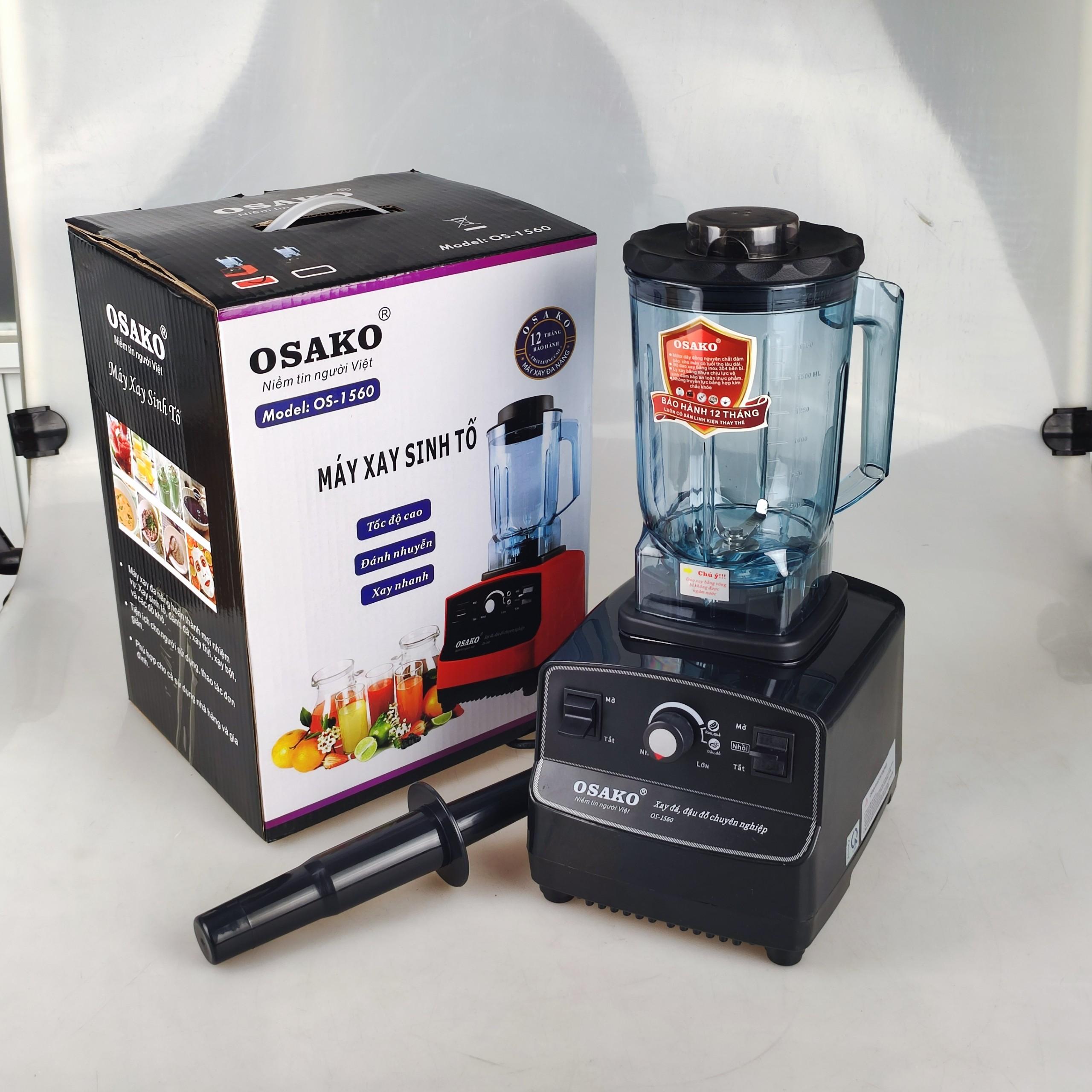 Máy xay sinh tố công nghiệp Osako Os-1560 với 2 chức năng xay rau quả và xay đậu đỗ mạnh mẽ, dung tích cối 2Lit -Hàng chính hãng