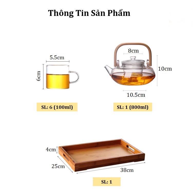 BỘ ẤM CHÉN PHA TRÀ THỦY TINH TAY GỖ KÈM KHAY TRE - ANTH680