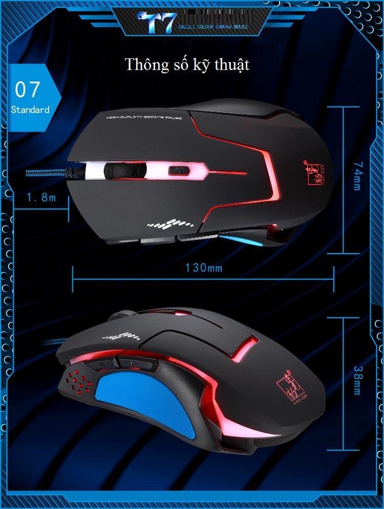 Chuột Gaming Chuyên Dụng Cho Các Game thủ T7 Thiết Kế Đèn Led Cực Ngầu