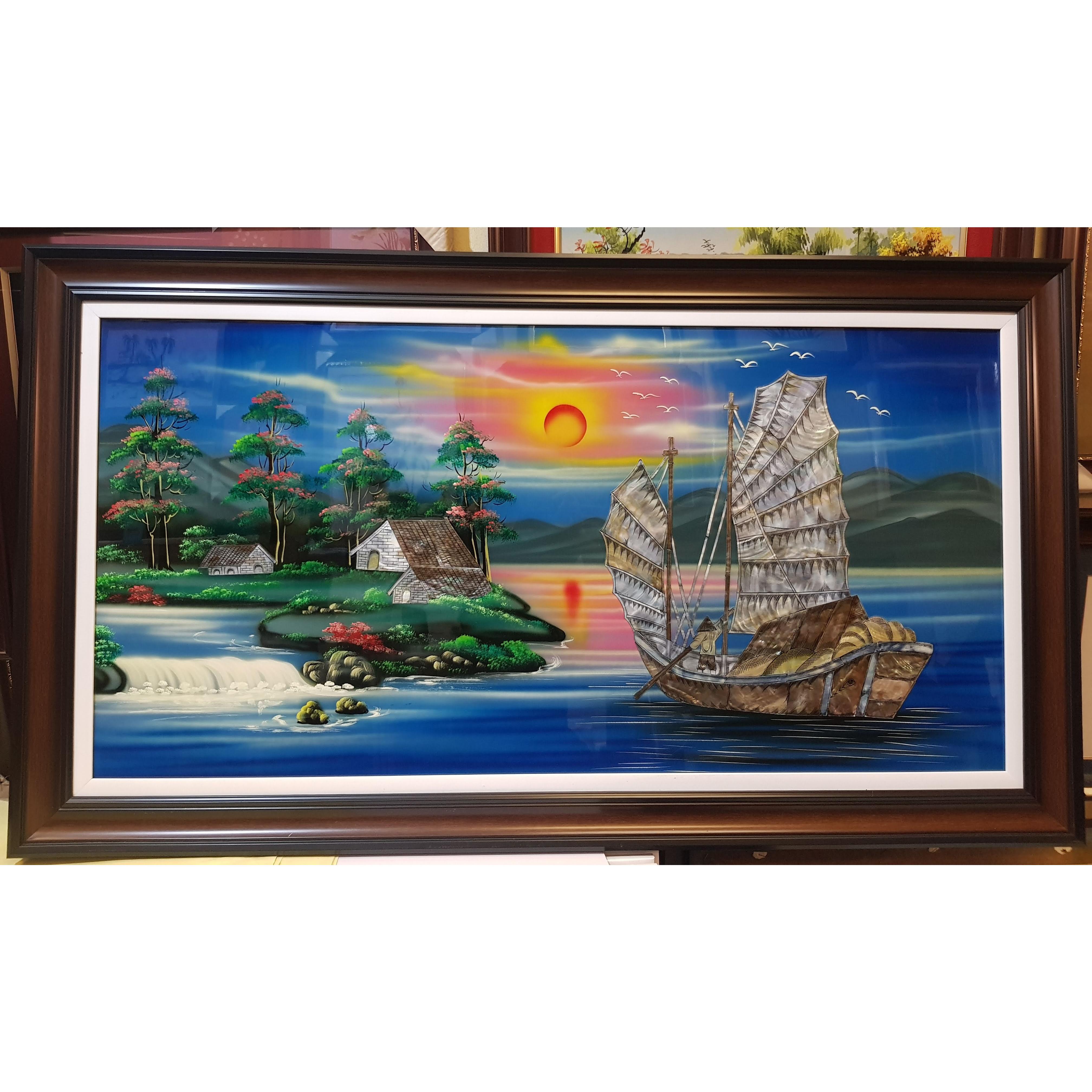 Tranh sơn mài khảm trai, Thuận Buồm Xuôi Gió -Thuyền Buồm ra Khơi -SM307