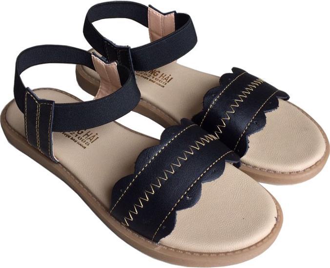 Sandal nữ  đế bệt Trường Hải da bò thật màu đen SD0133 HÌNH ẢNH THẬT