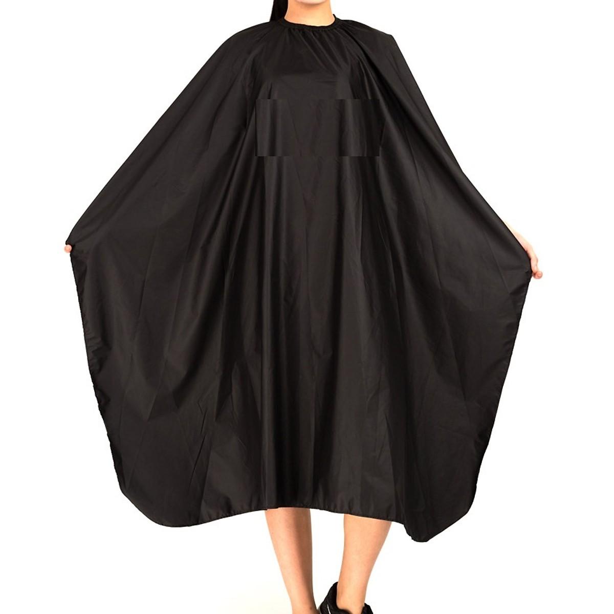 Áo choàng cắt tóc màu đen chuyên nghiệp cho salon tóc