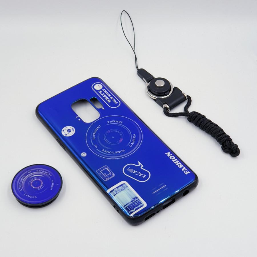 Ốp lưng hình máy ảnh kèm giá đỡ và dây đeo dành cho Samsung Galaxy S7,S7 Edge,S8,S8 Plus,S9,S9 Plus,S10,S10 Plus - Samsung Galaxy S9 - Xanh