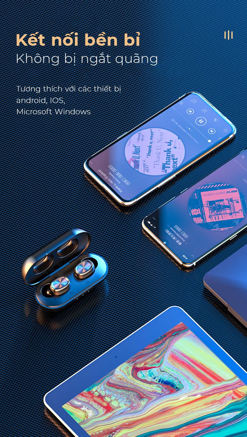 Tai nghe không dây cảm biến vân tay thông minh, kết nối bluetooth 5.0 tiết kiệm pin - Hàng nhập khẩu