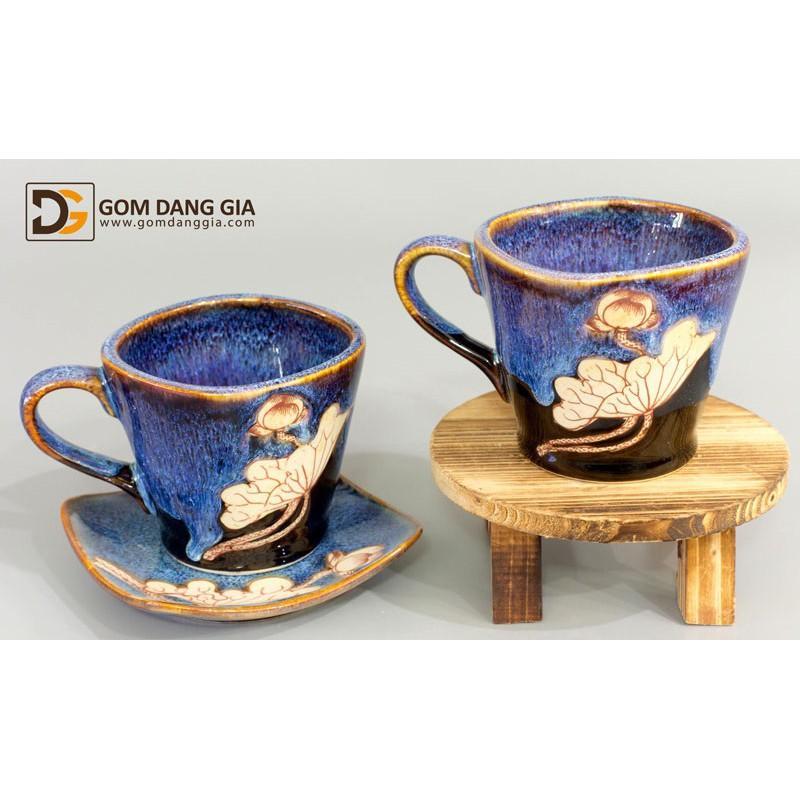 Bộ cốc cà phê vuông men hỏa biến vẽ sen