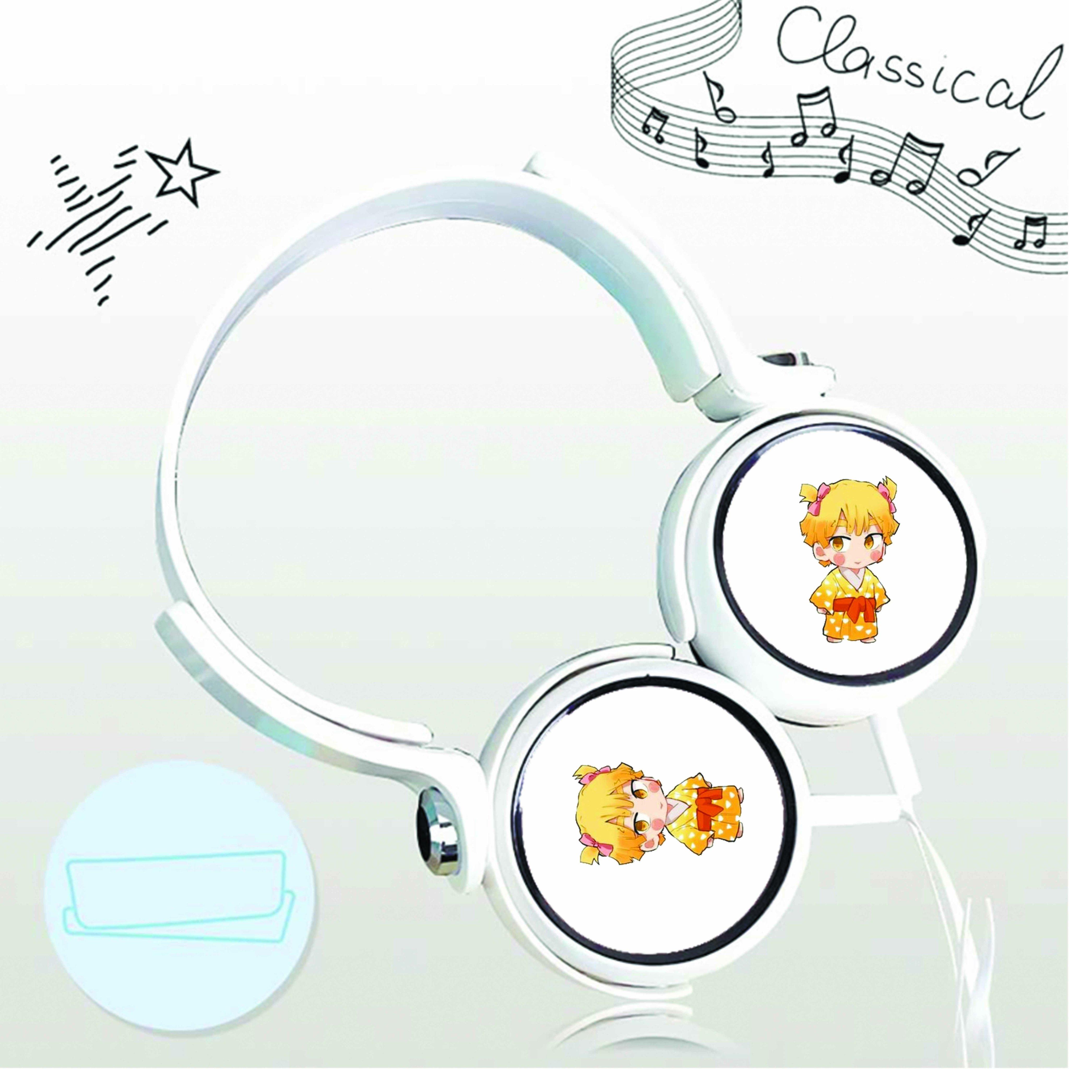 Tai nghe chụp in hình Kimetsu no Yaiba - Thanh Gươm Diệt Quỷ anime chibi cắm dây có mic