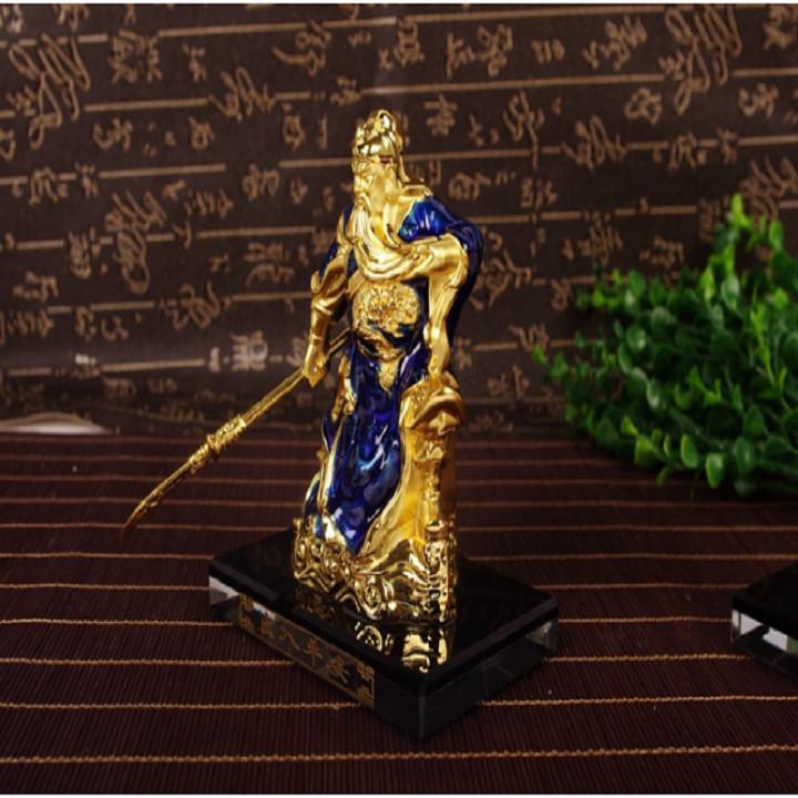 Tượng Quan Công Vân Trường màu xanh dương có chỗ đổ nước hoa để taplo ô tô trang trí bàn làm việc để phong thủy trong nhà Tượng Phật có nước hoa cao cấp