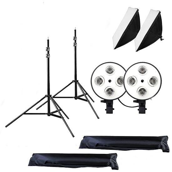 02 Softbox quay phim đuôi Sứ 4 chuôi 50x70cm - 02 Chân đèn 2m (không bao gồm đèn)