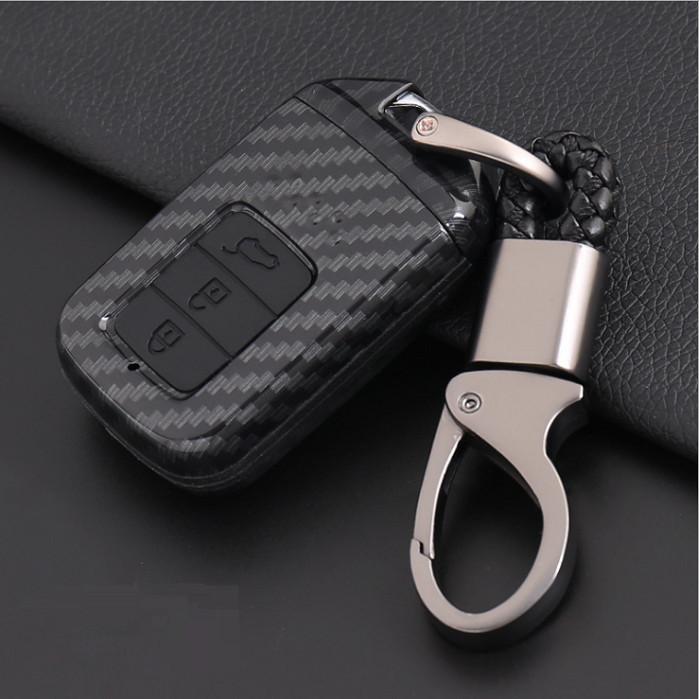 Ốp chìa khóa carbon bọc, bảo vệ chìa khóa xe Honda Civic, City, CRv…kèm móc đeo INOX