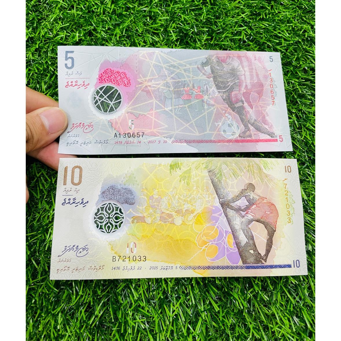 Cặp 2 tờ tiền Maldives 5 10 Rufiyaa, bằng polyme, đất nước thiên đường du lịch, mới 100% UNC, tặng túi nilon bảo quản The Merrick Mint