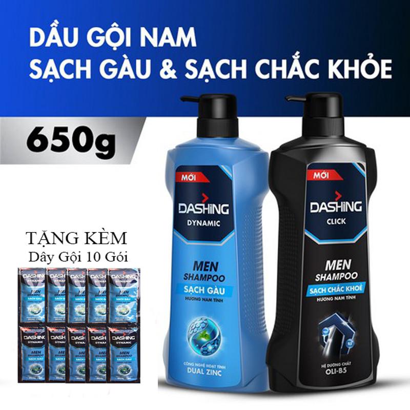 Combo 2 Chai Dầu Gội Dashing Sạch Gàu, Cho tóc chắc khỏe 650g*2+Tặng kèm 10 gói dầu gội
