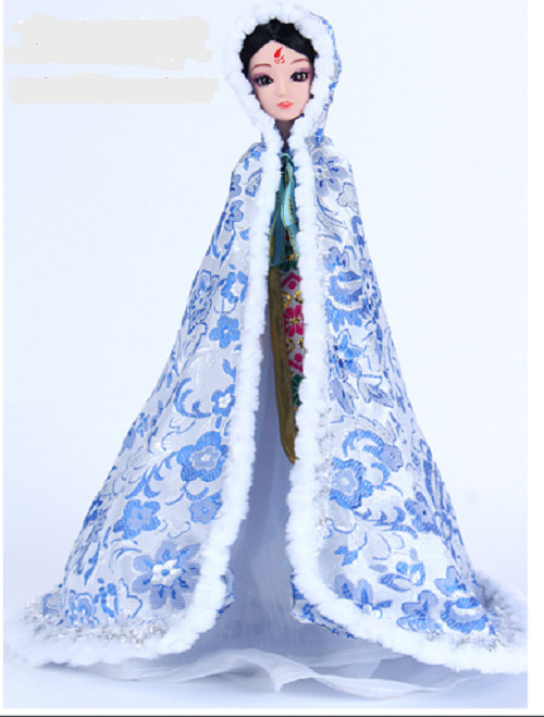 Mẫu áo khoác cổ trang vải gấm dành cho búp bê giao màu ngẫu nhiên
