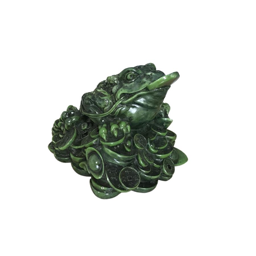 Tượng Đá Cóc Thiềm Thừ 3 Chân Phong Thủy - Size Lớn - Màu Xanh Lục Bích