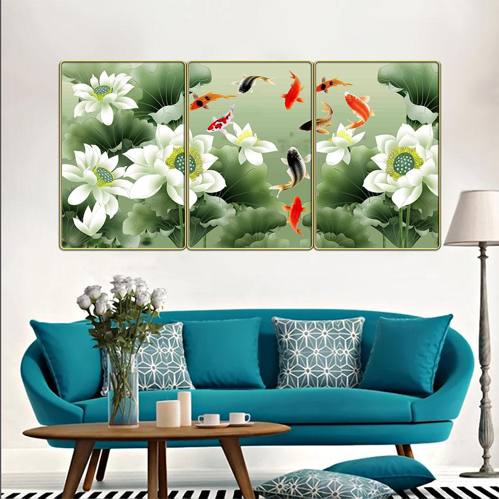 Tranh treo tường 3 tấm- cửu ngư quần hội - Cá chép hoa sen: 2392L10