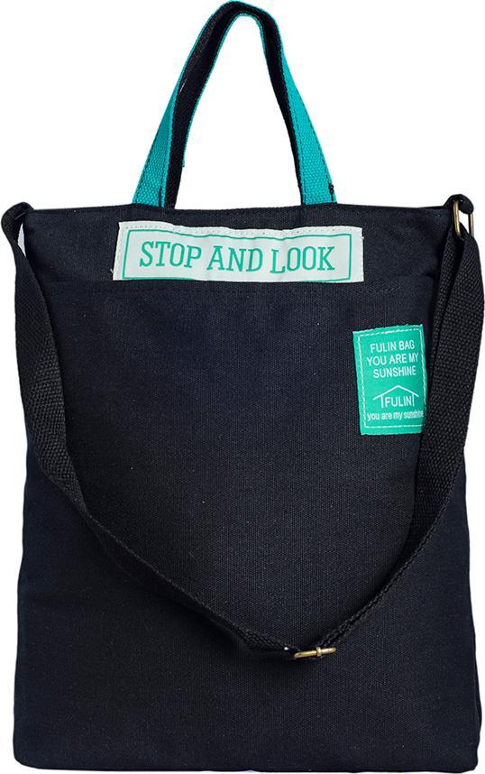 Túi Vải Tote Đeo Vai Đeo Chéo Stop Đen XinhStore