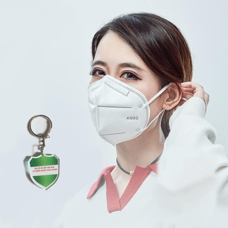 10 cái khẩu trang KN95 chống bụi mịn Pm2.5 , cao cấp kháng khuẩn , màu trắng - tiêu chuẩn ISO13485, ISO9001, CE, FDA - xuất khẩu Châu Âu , Mỹ ; Tặng móc treo khóa Safe RPS