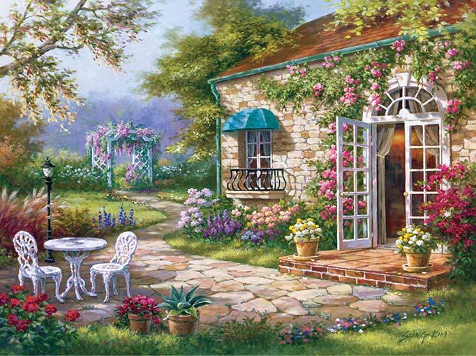 Tranh canvas phong cách sơn dầu - Phong cảnh Trước sân - PC037