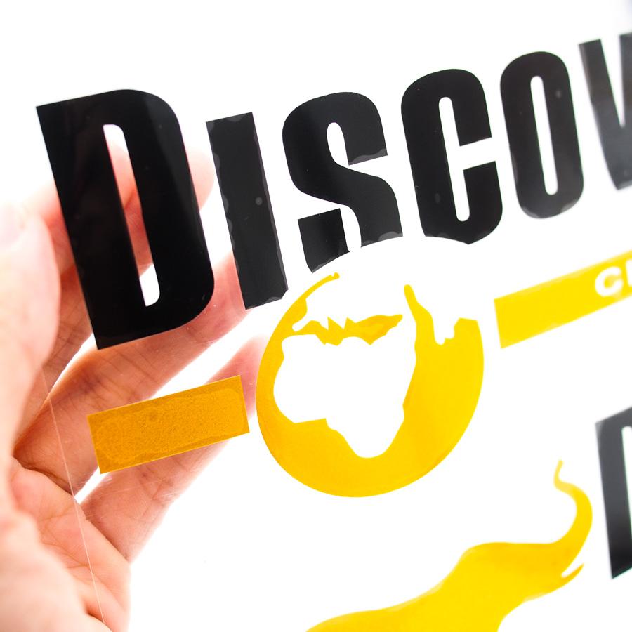 Set 2 Sticker hình dán Transfer Xe hơi Ô tô Discovery Chanel - Chữ Đen - Size 33x9 cm