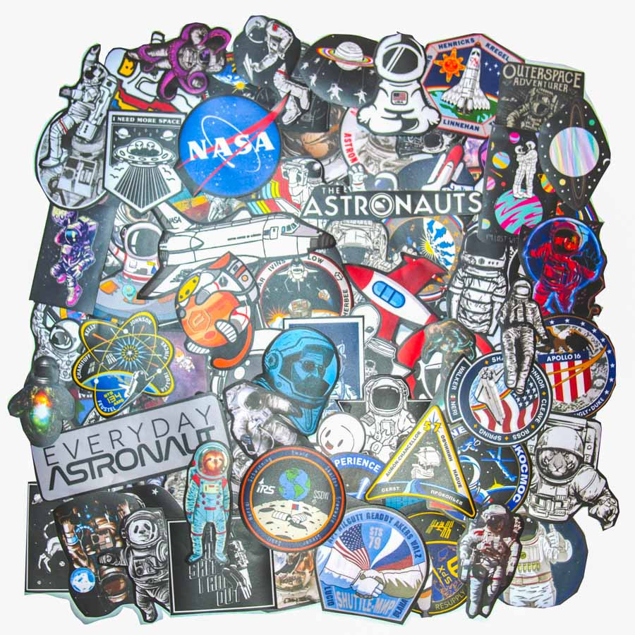 Set 100 sticker hình dán - Astronaut Phi hành gia vũ trụ
