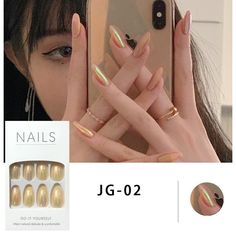 Bộ 24 móng tay giả đẹp (JG-02) tặng kèm thun lò xo cột tóc màu đen tiện lợi