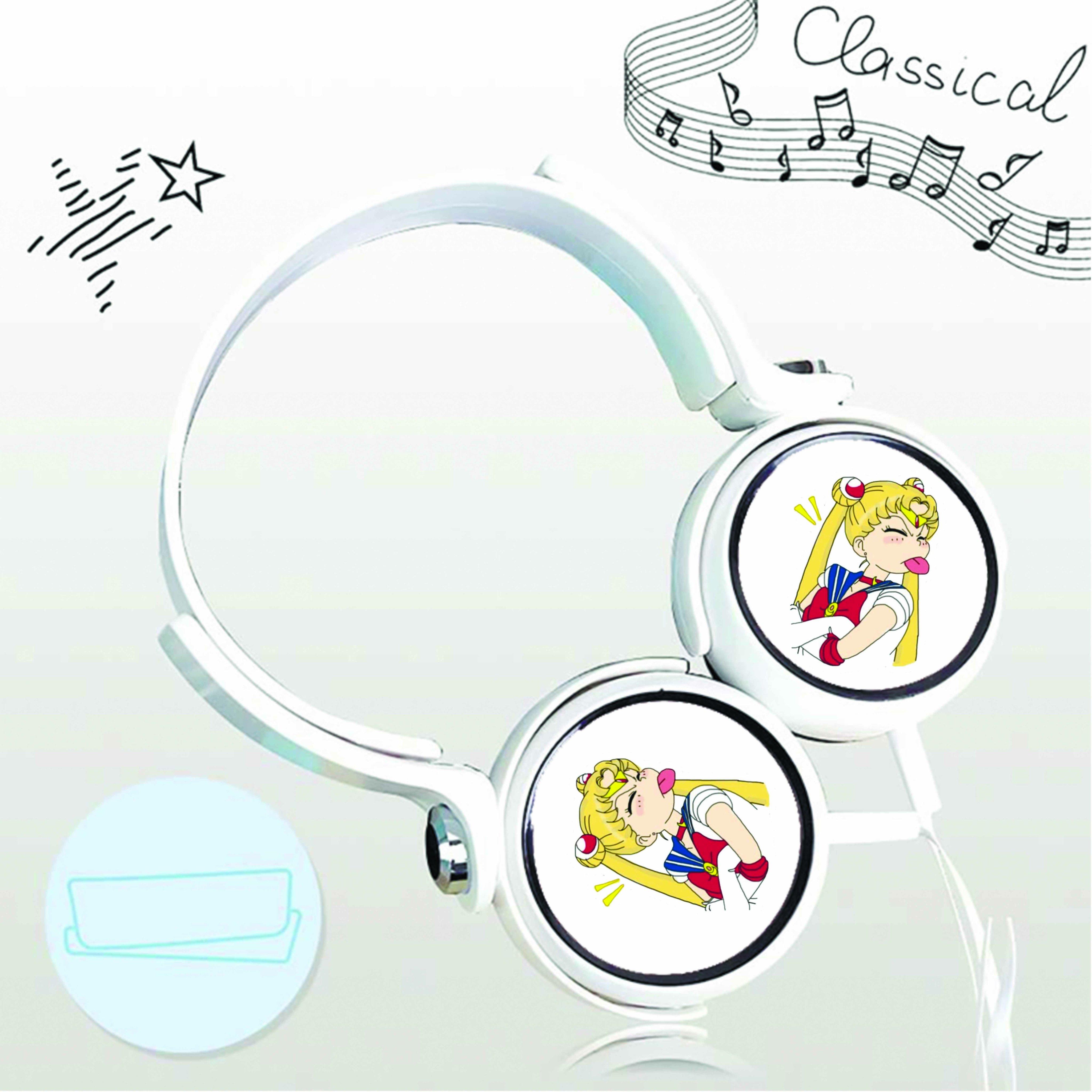 Tai nghe chụp in hình Sailor Moon - Thủy Thủ Mặt Trăng anime cắm dây có mic