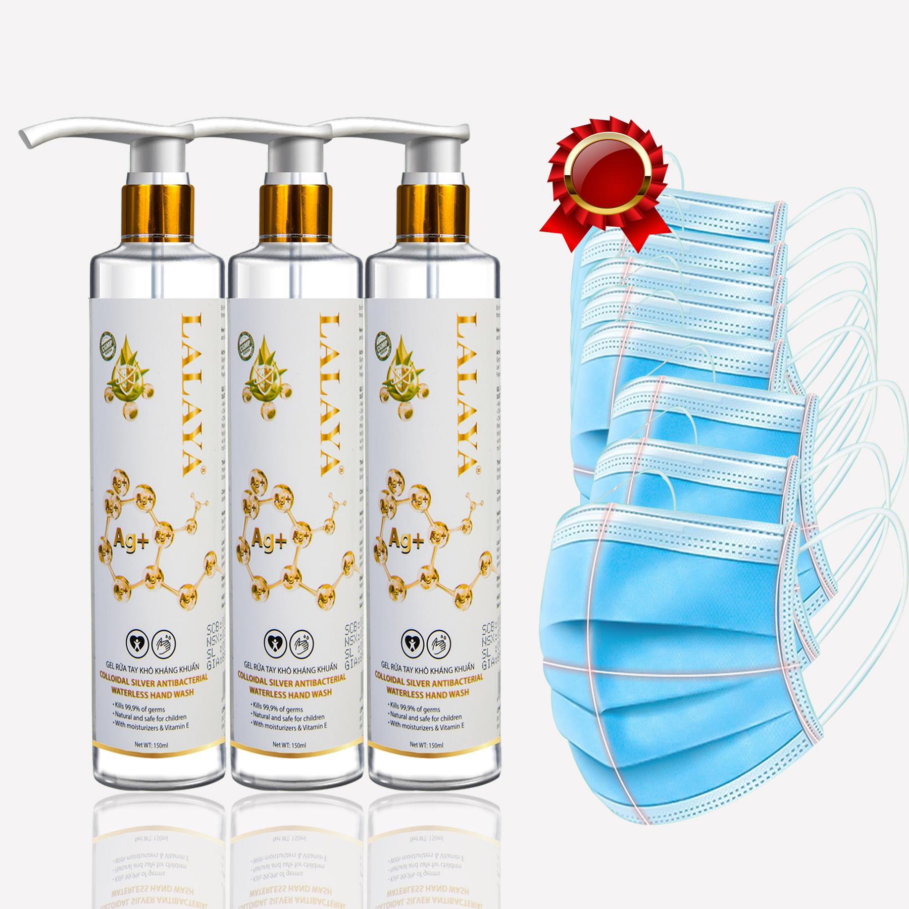 Bộ 3 chai gel rửa tay kháng khuẩn nano bạc LALAYA (150ml) - tặng kèm 8 cái khẩu trang y tế cao cấp MEBILOO< kháng khuẩn màu ngẫu nhiên xanh/xám