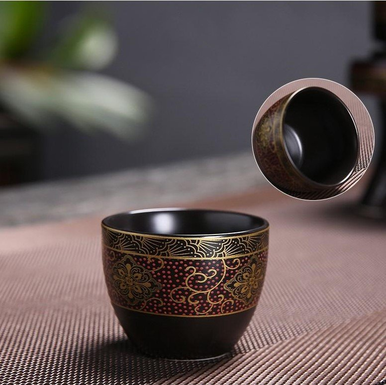 Bộ ấm chén pha trà cối xay sm008 – Đỏ đen vàng 12&14&15 món