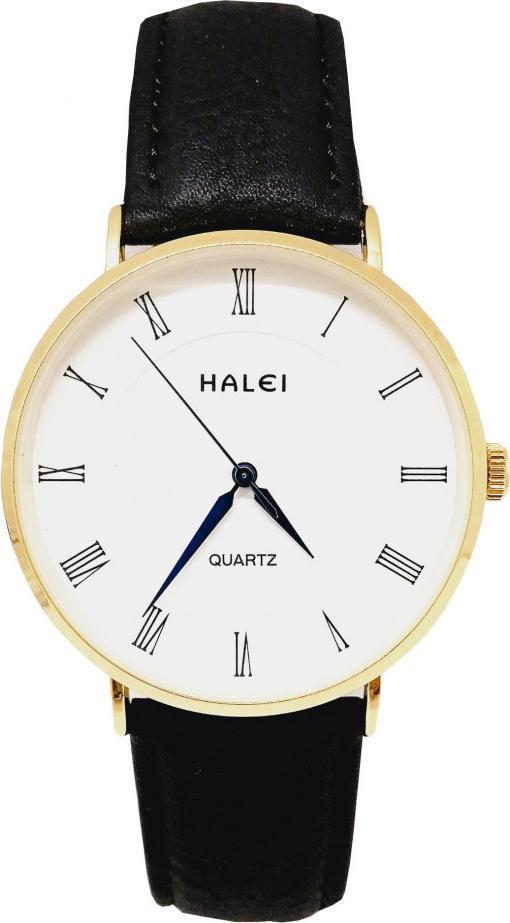 Đồng hồ Nam Halei - HL540 Dây da đen mặt trắng (Tặng pin Nhật sẵn trong đồng hồ + Móc Khóa gỗ Đồng hồ 888 y hình + Hộp Chính Hãng)