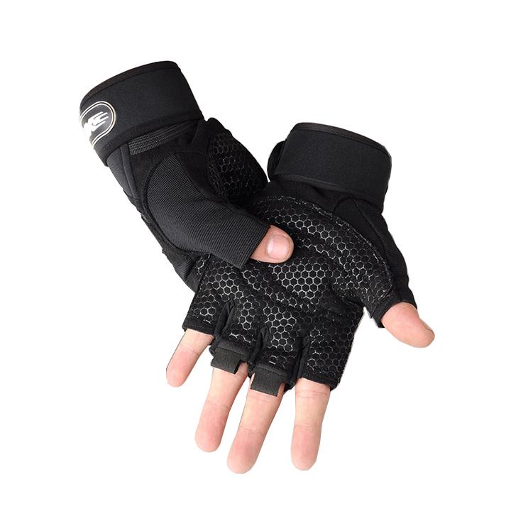 Bộ 2 găng tay tập gym có dây cuốn bảo vệ cổ tay kết hợp (size XL}