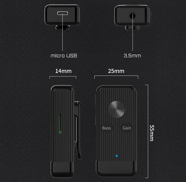 Bộ Thu Âm Thanh Bluetooth 5.0 Hỗ Trợ Khe Cắm Thẻ Nhớ TF, Chỉnh Bass X8