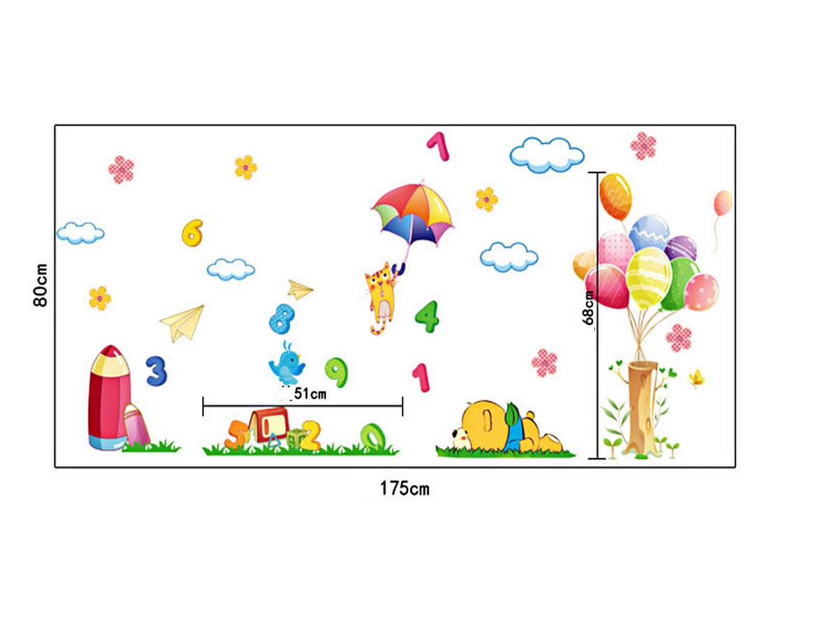decal dán tường gấu và cây bóng bay hoạt hình ay9248