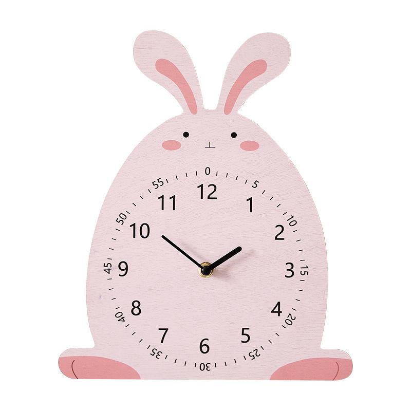 Đồng hồ treo tường hình thỏ bằng gỗ đáng yêu 26x30,5cm