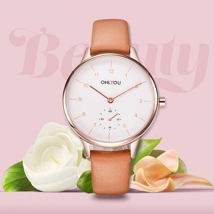 Đồng hồ Onlyou Nữ 85000LC Dây Da 33mm