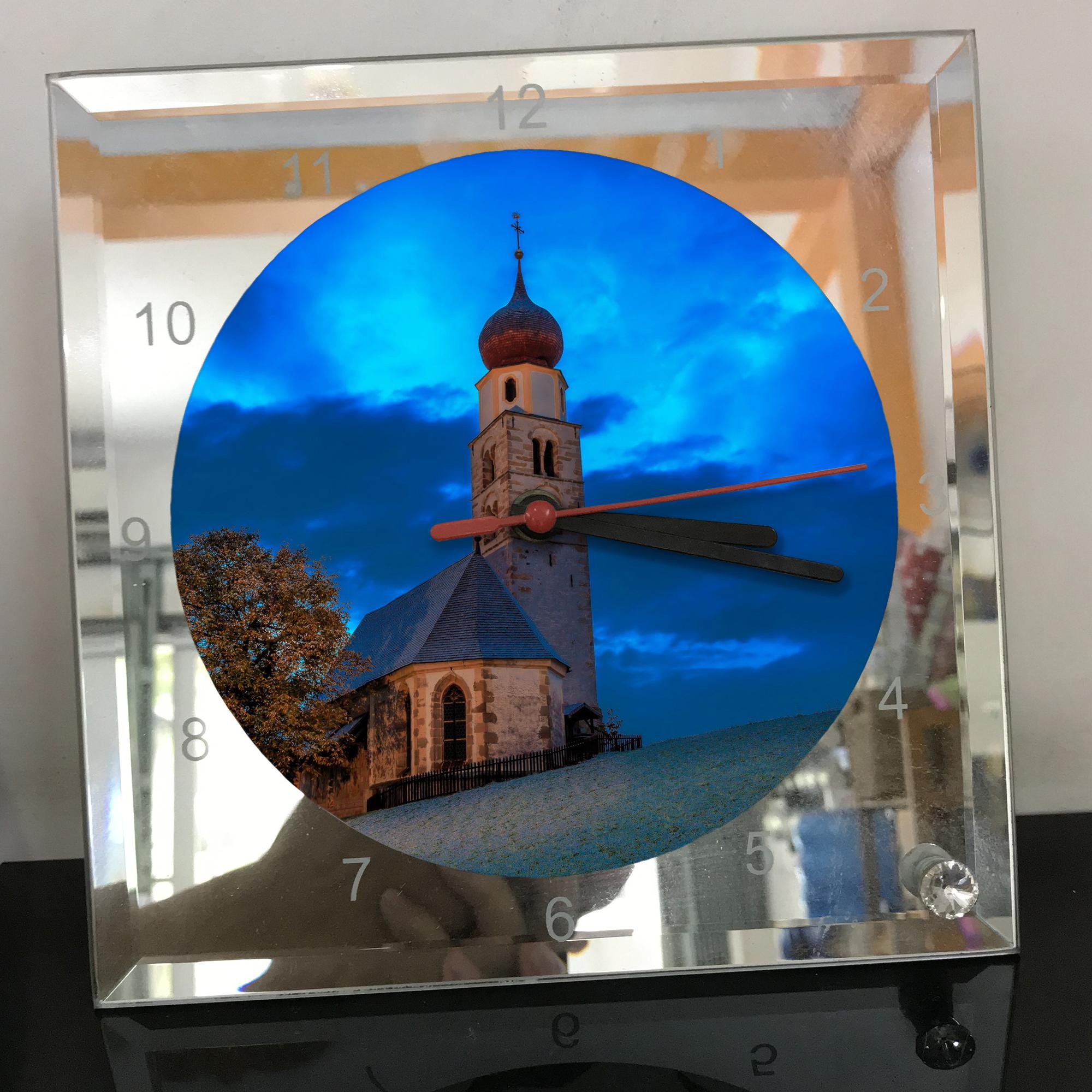 Đồng hồ thủy tinh vuông 20x20 in hình Church - nhà thờ (144) . Đồng hồ thủy tinh để bàn trang trí đẹp chủ đề tôn giáo